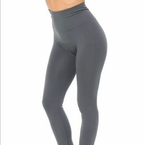High Waisted Fleece Lined Legging- Charcoal